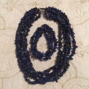 Lapis chip necklace and bracelet